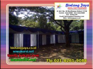 Menyewakan Tenda Plafon Dengan Rumbai Biru